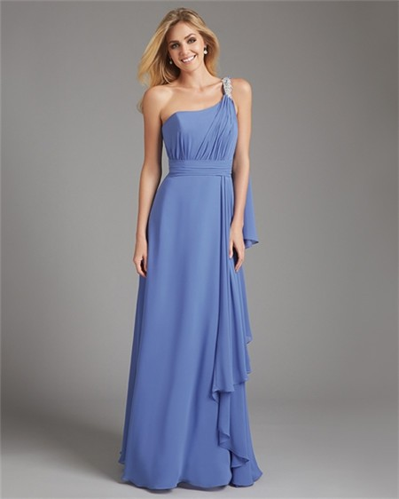 Sheath one shoulder long blue chiffon ruched wedding guest for One shoulder dress for wedding guest