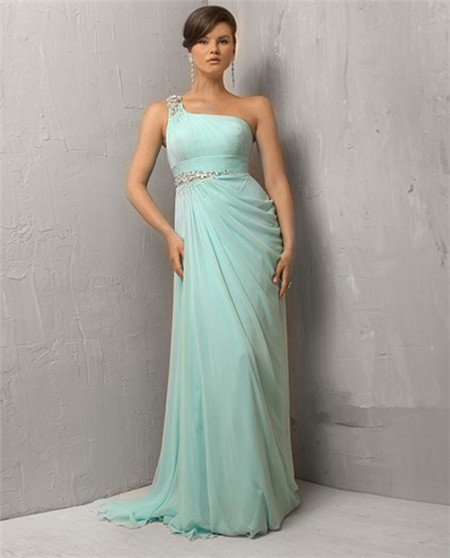 ... Sheath One Shoulder Long Mint Green Chiffon Evening Dress With Beading