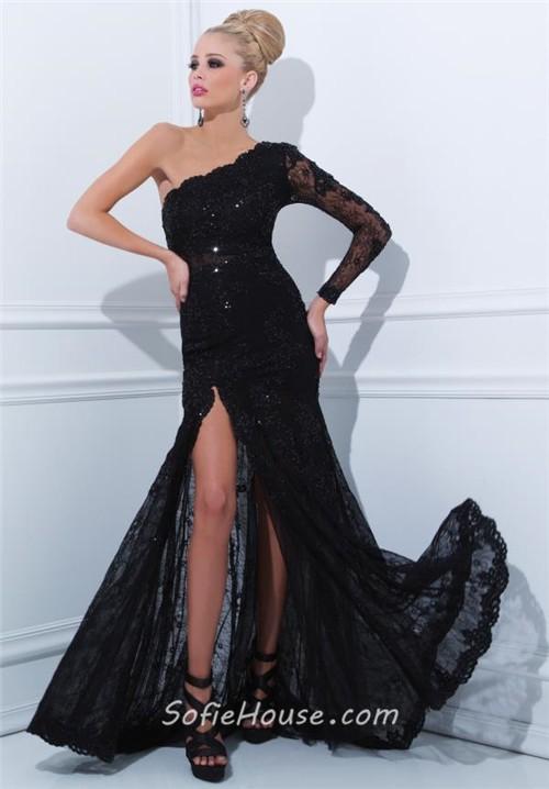 Sheath One Shoulder Long Sleeve Black Lace Evening Prom Dress With Slit