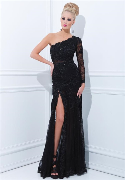 One Shoulder Long Sleeve Black Lace Evening Prom Dress With Slit