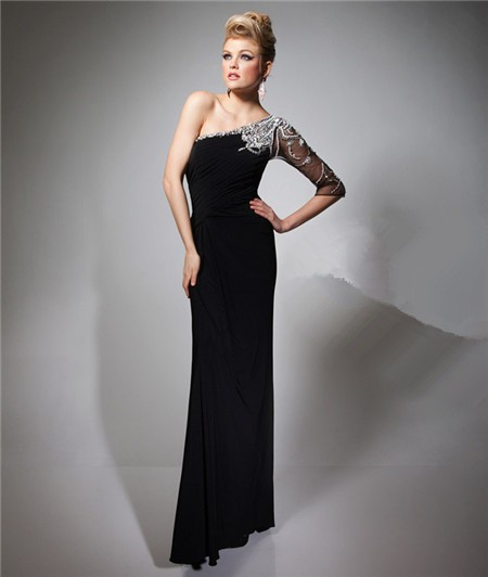 0c53f408879b2 Sheath One Shoulder Sheer Sleeve Long Black Chiffon Beaded Evening Prom  Dress
