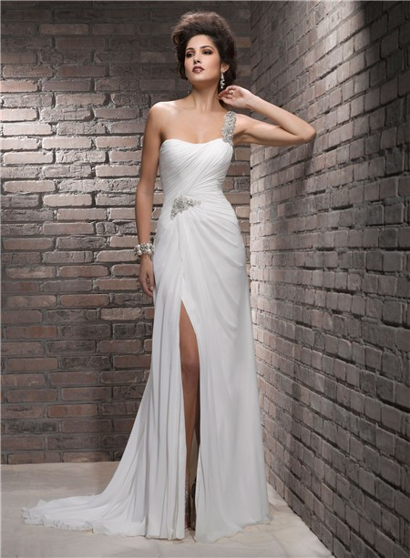 One Shoulder Swarovski Crystal Chiffon Wedding Dress With Slit Strap