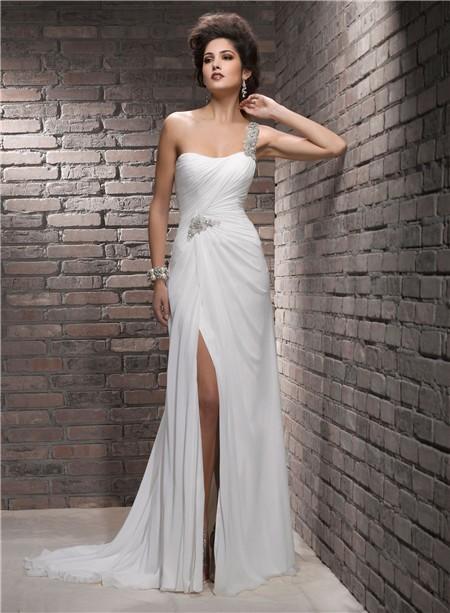 Sheath one shoulder swarovski crystal chiffon wedding for One strap wedding dress