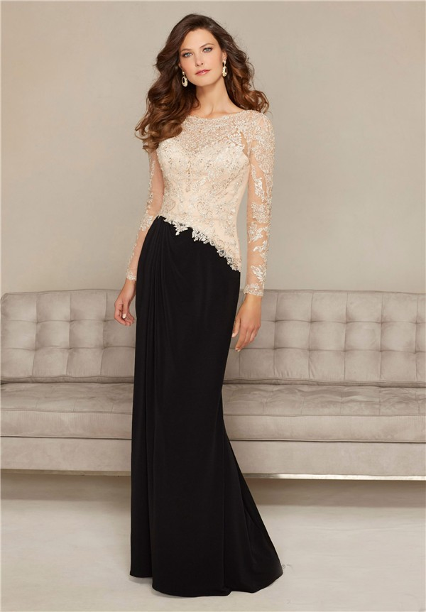 Sheath Open Back Black Chiffon Champagne Lace Long Sleeve Special ...