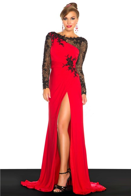 Open Back Long Red Chiffon Evening Prom Dress With Black Lace Sleeve