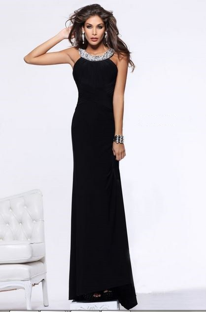 Sheath Scoop Neck Backless Long Black Chiffon Formal Evening Prom ...