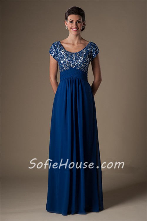 Sheath Scoop Neck Empire Waist Long Royal Blue Chiffon ...