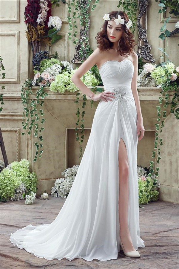 Sheath strapless high slit corset back chiffon beach for Beach chiffon wedding dress