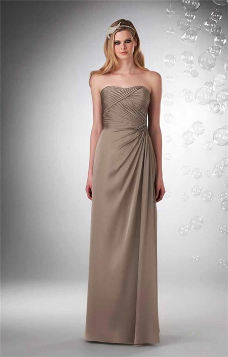 Sheath strapless long brown chiffon draped wedding guest for Brown dresses for a wedding