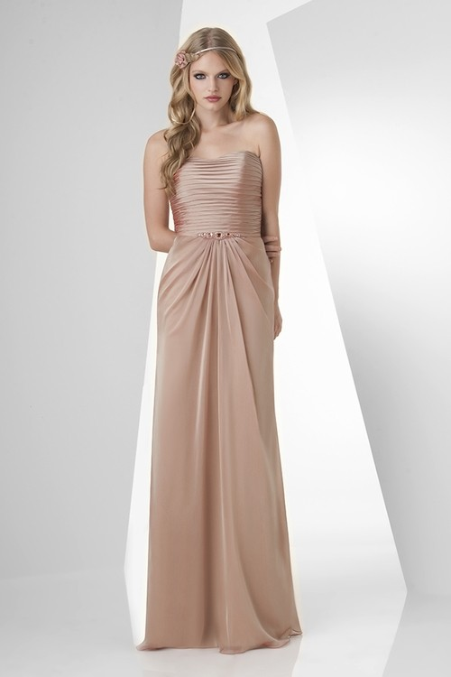 Sheath Strapless Long Champagne Chiffon Draped Formal Occasion ...