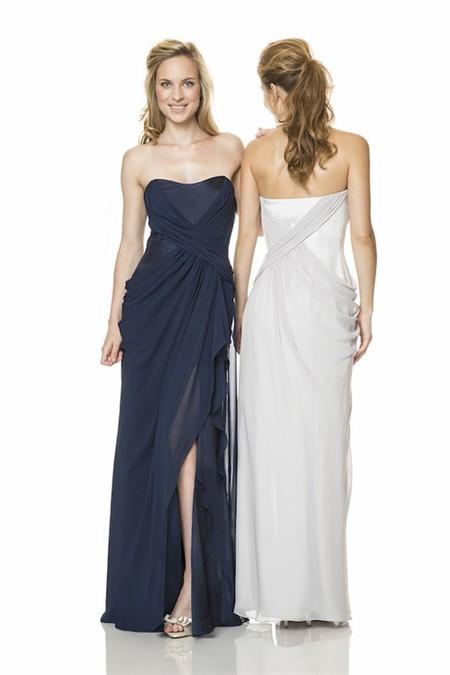 Strapless Long Navy Blue Chiffon Draped Wedding Guest Bridesmaid ...