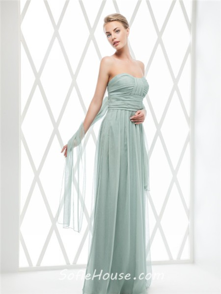 Sheath Strapless Long Neon Coral Chiffon Ruched Evening Prom Dress ...