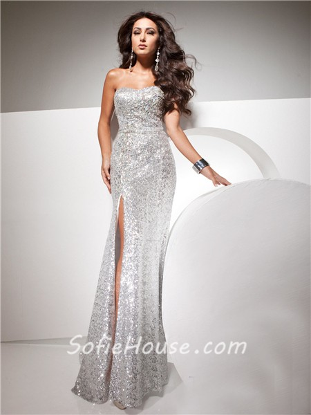 Sheath Strapless Long Silver Sequins Glitter Evening Prom Dress ...