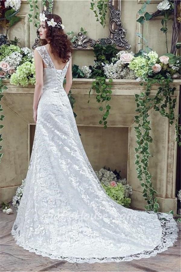 e6ac4635ad Sheath Sweetheart Corset Back Lace Wedding Dress With Straps