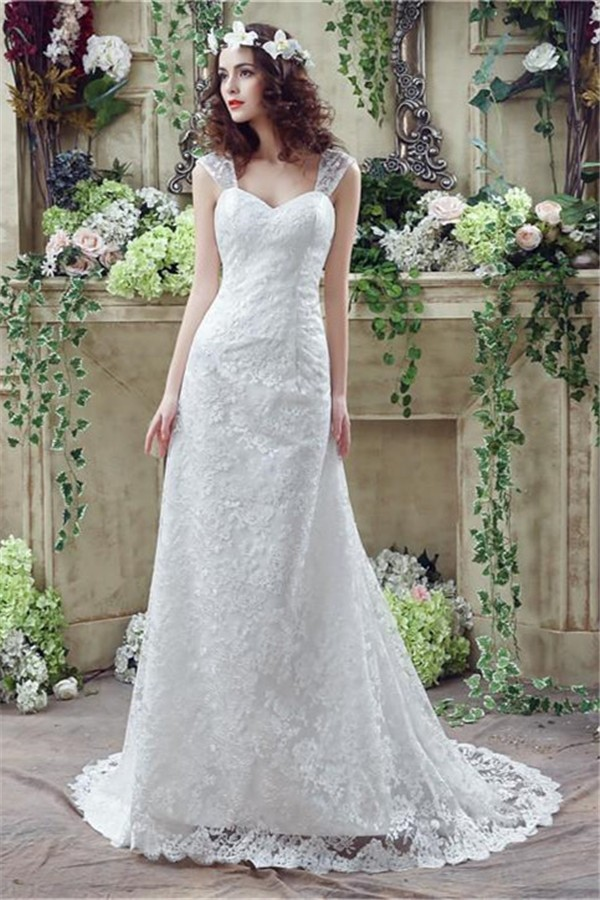 Sheath sweetheart corset back lace wedding dress with straps for Sweetheart corset wedding dress
