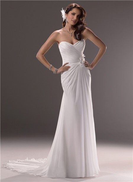 Sheath sweetheart cowl back chiffon beach wedding dress for Beach chiffon wedding dress