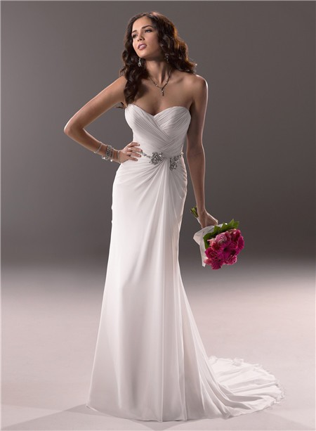 Sheath sweetheart destination beach chiffon wedding dress for Beach chiffon wedding dress