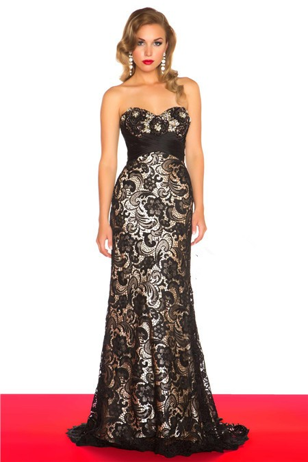 Sweetheart Empire Waist Long Black Lace Evening Prom Dress With Train