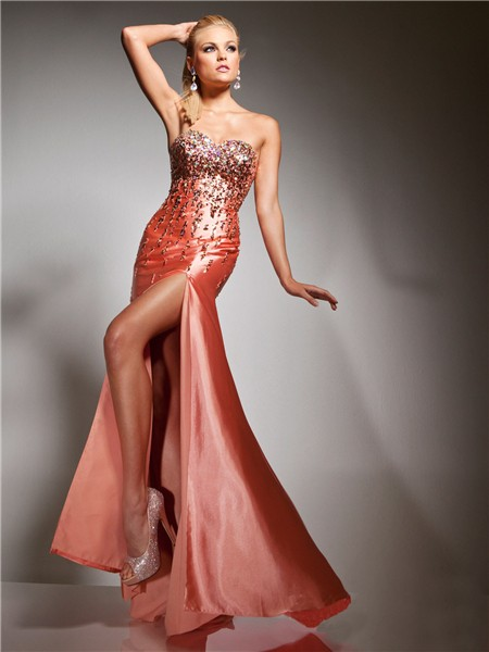 Sheath Sweetheart Long Coral Silk Glitter Evening Prom