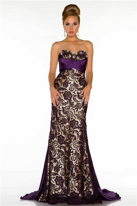 Sweetheart Long Dark Purple Satin Lace Special Occasion Prom ...