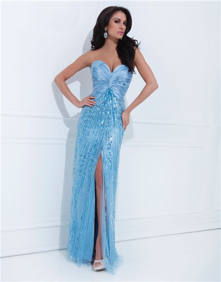 Sweetheart Long Light Blue Satin Tulle Sequin Sparkly Prom Dress ...