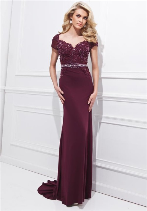 Sheath Sweetheart Open Back Long Burgundy Chiffon Lace Beaded Sleeve ...
