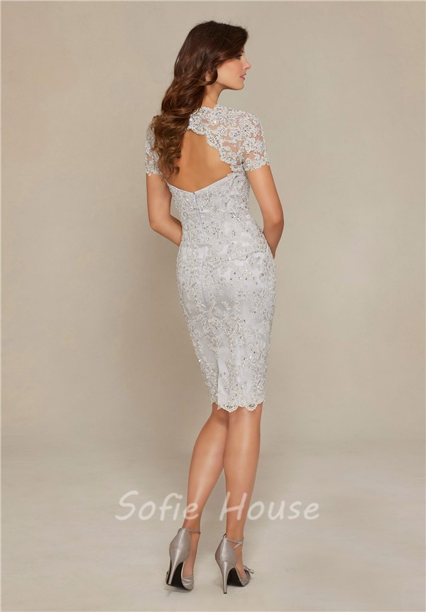 sheath sweetheart open back short sleeve silver lace