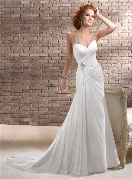 Sheath Sweetheart Ruched Chiffon Wedding Dress With Illusion