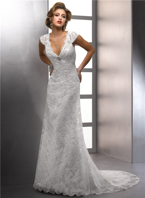 V Neck Cap Sleeve Destination Beach Lace Wedding Dress With ...