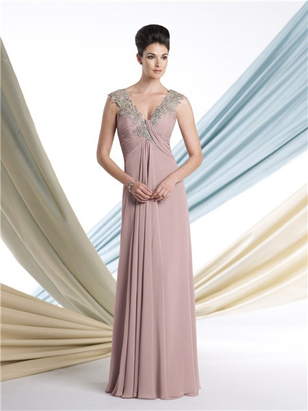 V Neck Cap Sleeve Empire Waist Nude Chiffon Mother Of The Bride ...