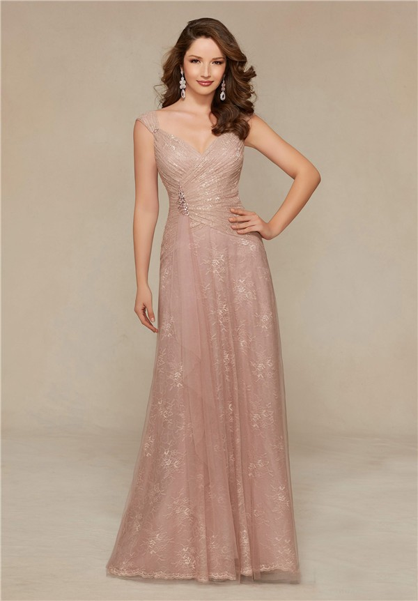 af9a6f742 Sheath V Neck Cap Sleeve Long Blush Pink Lace Mother Of The Bride Evening  Dress