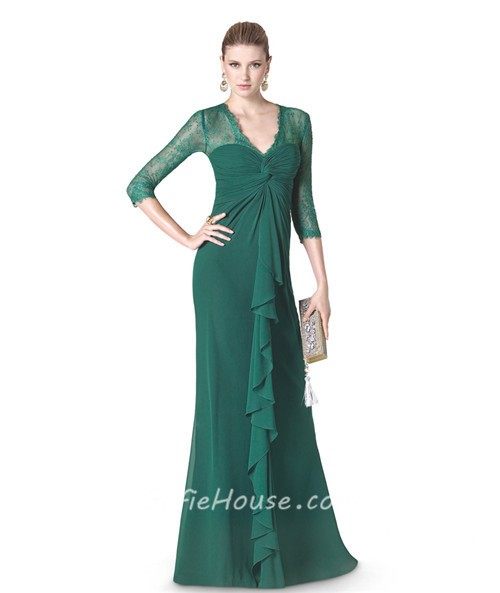 62ac1f537c5 Sheath V Neck Green Chiffon Ruffle Special Occasion Evening Dress Lace  Sleeves
