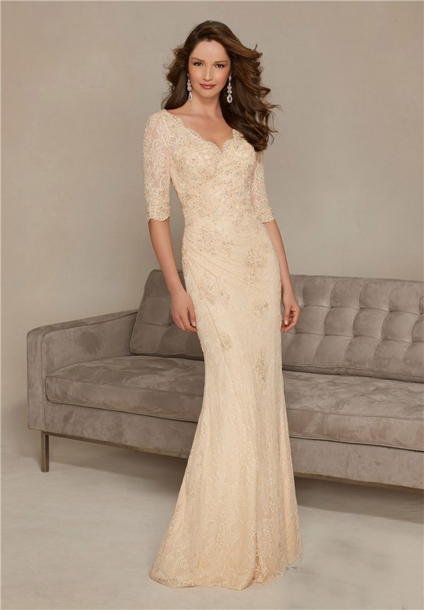 Sheath v neck long champagne lace sleeve mother of the for Long dress for wedding mother of the bride