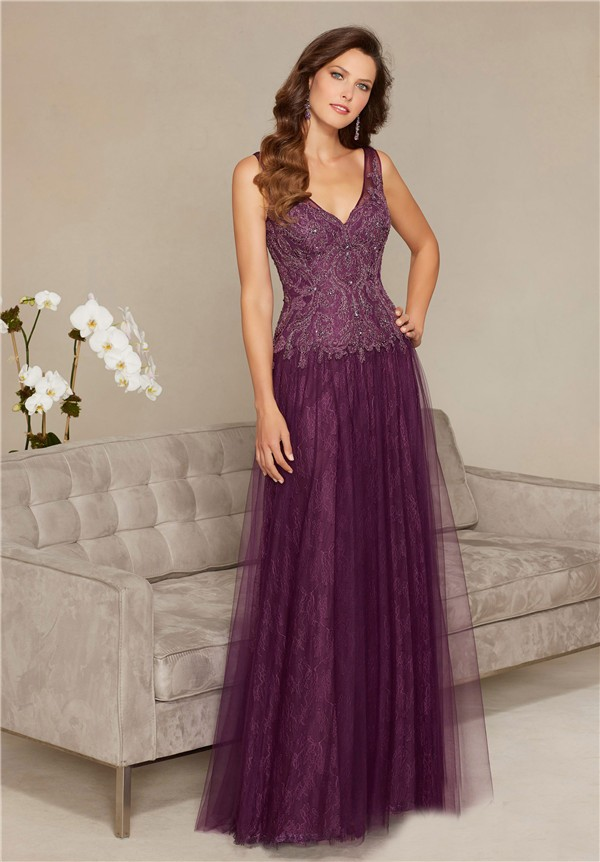 Sheath V Neck Long Eggplant Tulle Lace Beaded Special Occasion ...