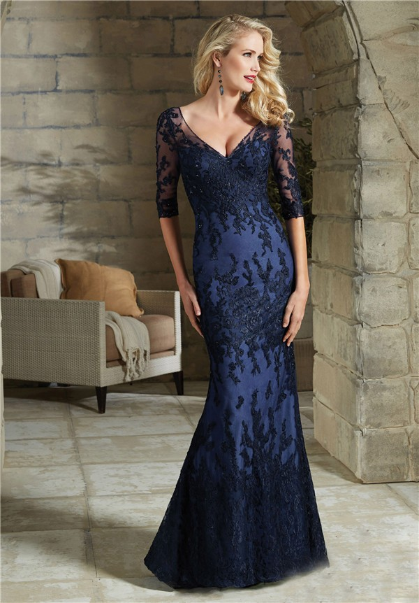Sheath V Neck Long Navy Blue Lace Beaded Evening Dress With Sleeves