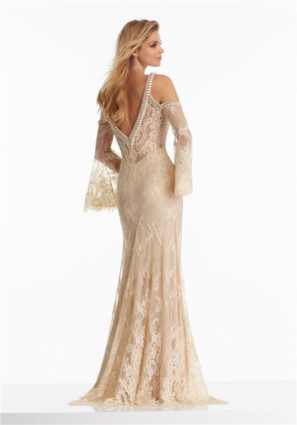 Sheath V Neck Long Sleeve Champagne Lace Beaded Boho Prom