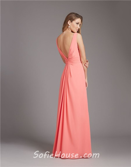 Low Back Wedding Guest Dresses : Neck low back long coral chiffon ruffle wedding guest bridesmaid dress