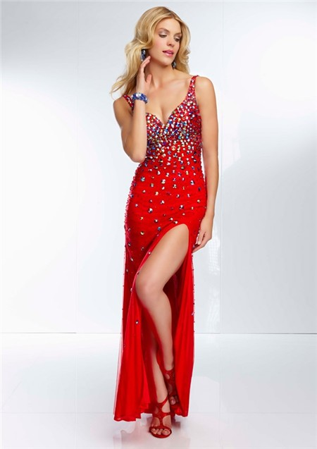 Sheath V Neck Low Open Back Long Red Chiffon Tulle Slit