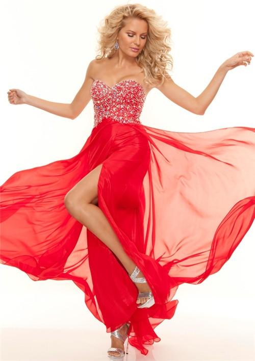 sweetheart floor length red chiffon beaded prom dress