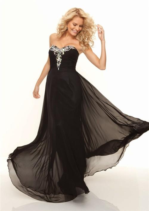 sweatheart long chiffon prom dress