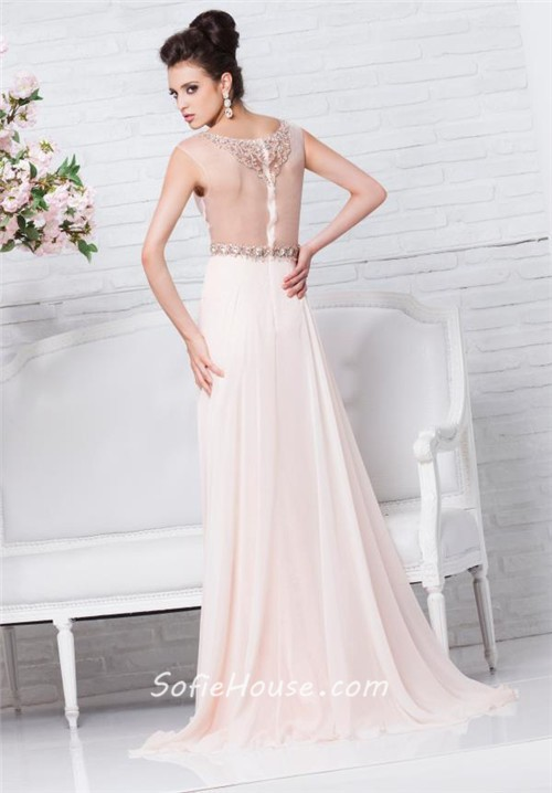 Sheer Illusion Neckline And Back Peach Lace Chiffon Beaded Long Prom ...