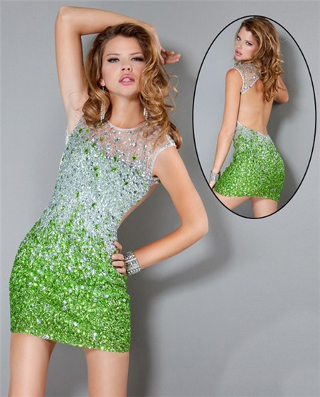 Illusion Neckline Open Back Short Lime Green Beaded Club Cocktail ...