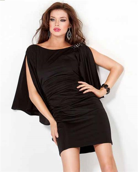 Short Mini Backless Black Jersey Ruched Night Out Club ...