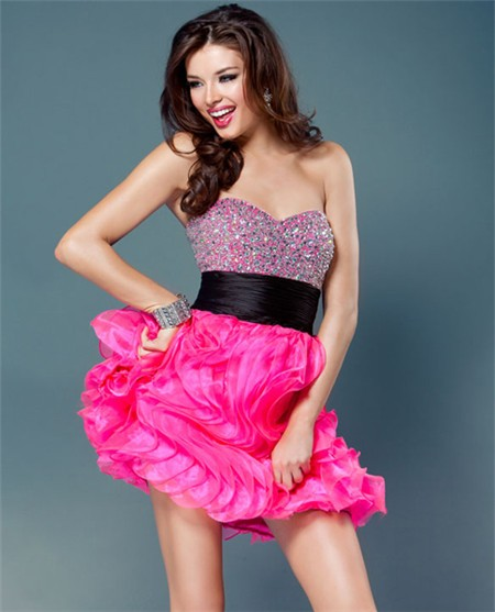 Mini Hot Pink Organza Ruffle Beaded Sweet Sixteen Cocktail Party Dress