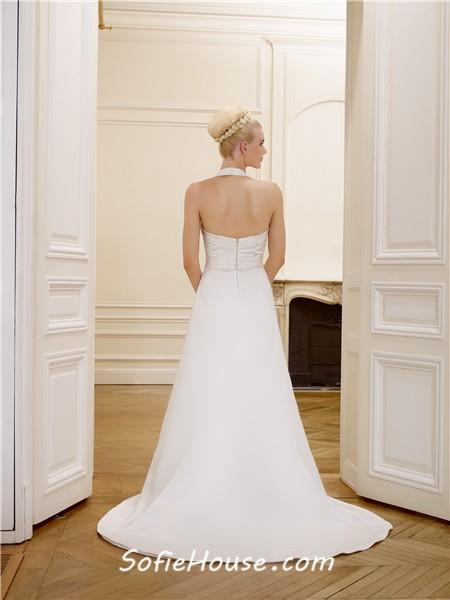 Simple a line halter open back satin wedding dress with for Open back bow wedding dress