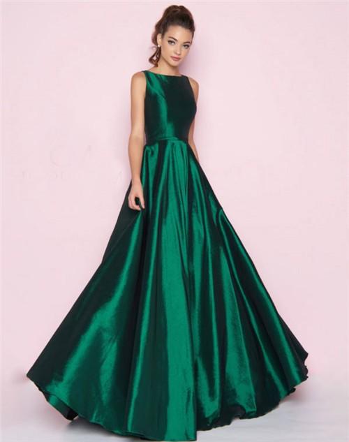d37d52dac5c Simple A Line High Neck Full Back Emerald Green Taffeta Bridesmaid Prom  Dress