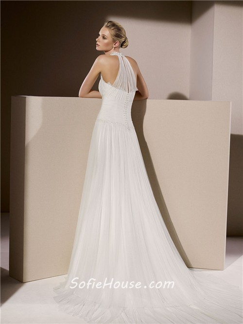 Simple Wedding Dress High Neck : Home ? simple a line high neck ruched tulle wedding dress with collar