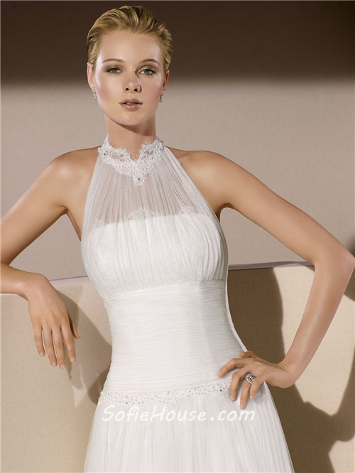 Simple a line high neck ruched tulle wedding dress with collar for Choker neck wedding dress