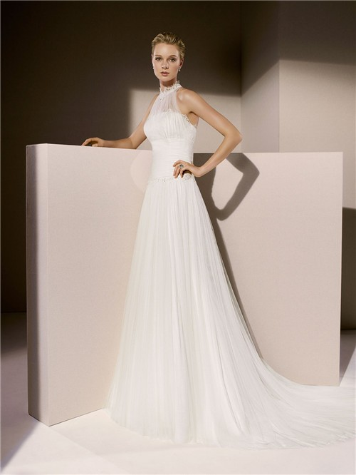 Simple a line high neck ruched tulle wedding dress with collar for Around the neck wedding dresses