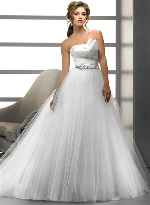 A Line/Princess Asymmetrical Beading Crystals Tulle Wedding Dress ...